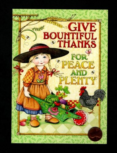 MARY ENGELBREIT Girl Wheelbarrow Rooster Vegetables - Greeting Card  W/ TRACKING
