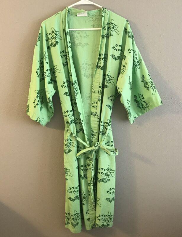 VTG Sheraton Waikiki Hotel Robe Green Sea Turtles Hawaiian Kimono 100% Cotton