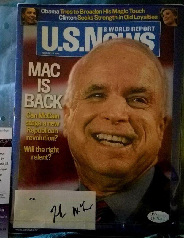 John McCain signed US NEWS & World Report Magazine JSA authenticated