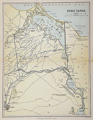 OLD ANTIQUE MAP SUEZ CANAL WATERWAY EGYPT c1880's by J BARTHOLOMEW