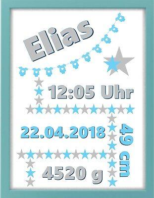 Bilderrahmen personalisiert - Baby - Wimpel - blau - Geschenk - Geburt