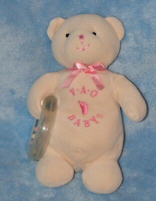 Teddy Rattle - FAO Schwarz Plush Cream Velour Teddy Bear Baby Ring Rattle Pink 8