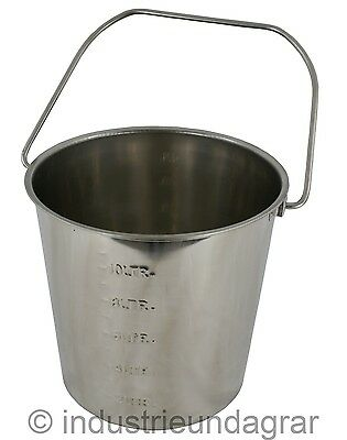 Edelstahleimer 12,3 Liter mit Skala Eimer Wasser Milch Lebensmittel Stalleimer