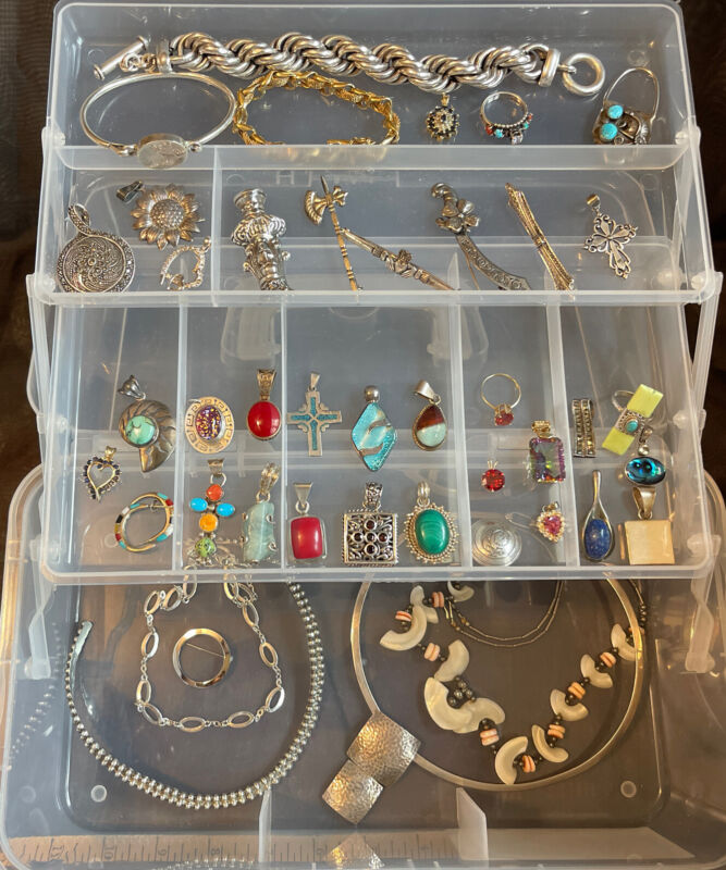 STERLING SILVER LOT VINTAGE BEAUTIFUL ALL WEARABLE 14k Ring & Pendant Red