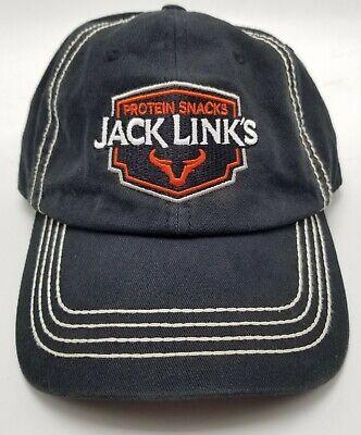 Jack Links Protein Snacks Hat Cap Black Adjustable Strapback Mens Used Bl2