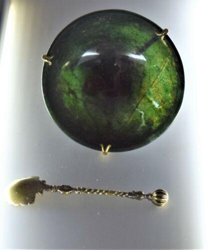 Sterling Pestelli Creazioni Emerald Italian Marble Miniature Salt cellar Spoon
