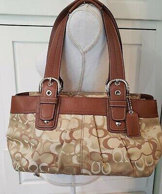 Coach EUC Optic Signature Tote Handbag Purse Pleated F14492 Brown/Tan Signature Tan Tote Handbag