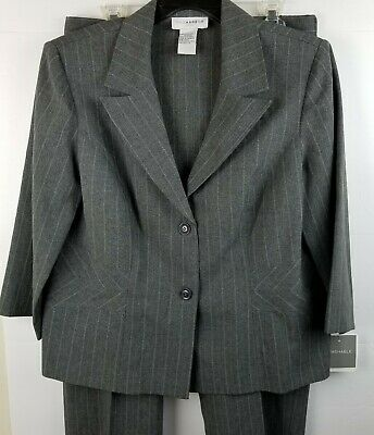 Sag Harbor Womens Pants Suit SZ 14 Blazer Jacket Gray Pin Striped Elastic Waist
