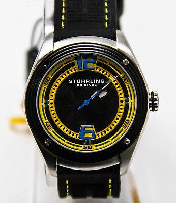 Stuhrling Men's 209B.331618 Millennia Conquest Automatic Watch Black/Yellow NEW