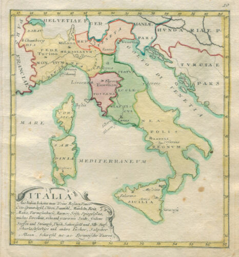 Original old engraving antique map of Italy Italia from 1764 by J. M. Franz