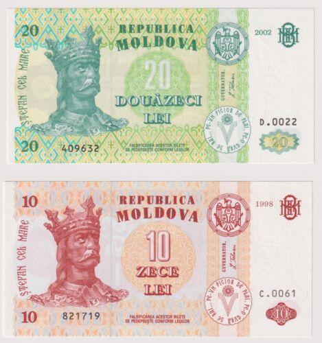Moldova 20 & 10 Lei dated 2002 & 1998 Pick13e Pick10c Uncirculated UNC
