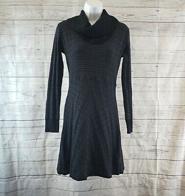 Prana Womens Monica Sweater Dress Sz Small Gray Black Stripe Cowl Neck