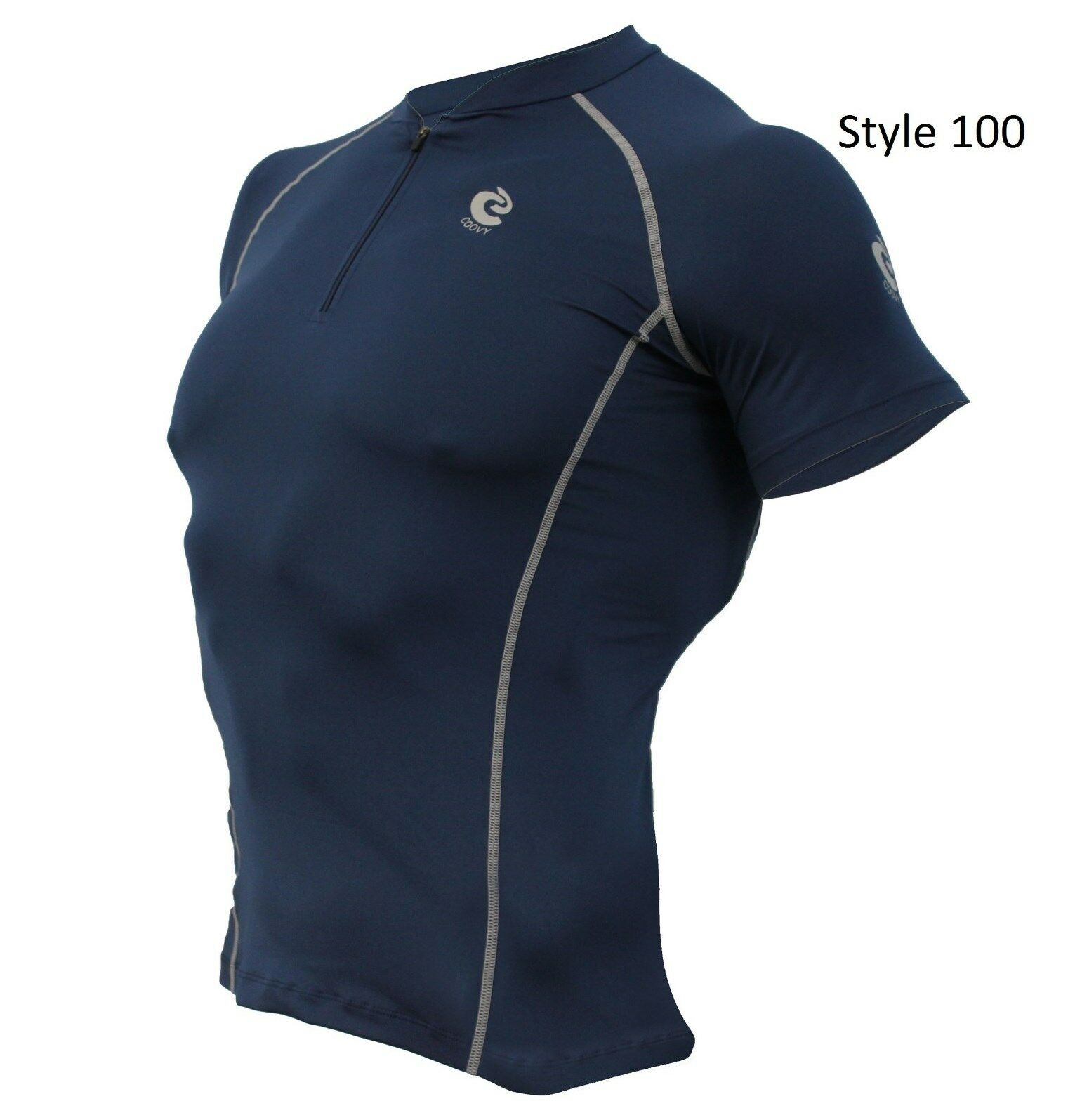 100 Navy w/zip front Short Sleeve Shirt