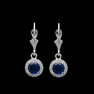 1Ct Pave Halo Blue Sapphire Leverback Earrings Solid 14k White Gold