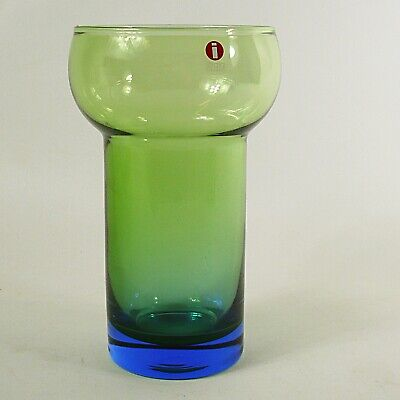 "Iittala Finland Olive Green to Cobalt Blue Glass Vase or Cup - 6"" Tall"