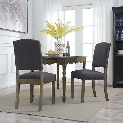 (Modern Parson Dark Gray Dining Chair Chairs Cushion Seat Highback - Set of 2)