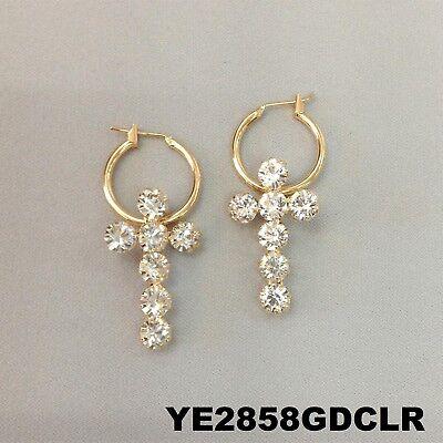 Cross Design Hoop - Religious Cross Design Clear Rhinestone Gold Finish Drop Dangle Hoop Earrings
