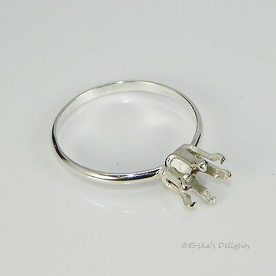 6mm Round Solitaire Sterling Silver Snap Tiite RING Setting (6 Prong) 6 Prong Round Ring Setting