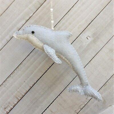 Christmas Ornament Felt Embroidery Kit Dolphin  2-Sided