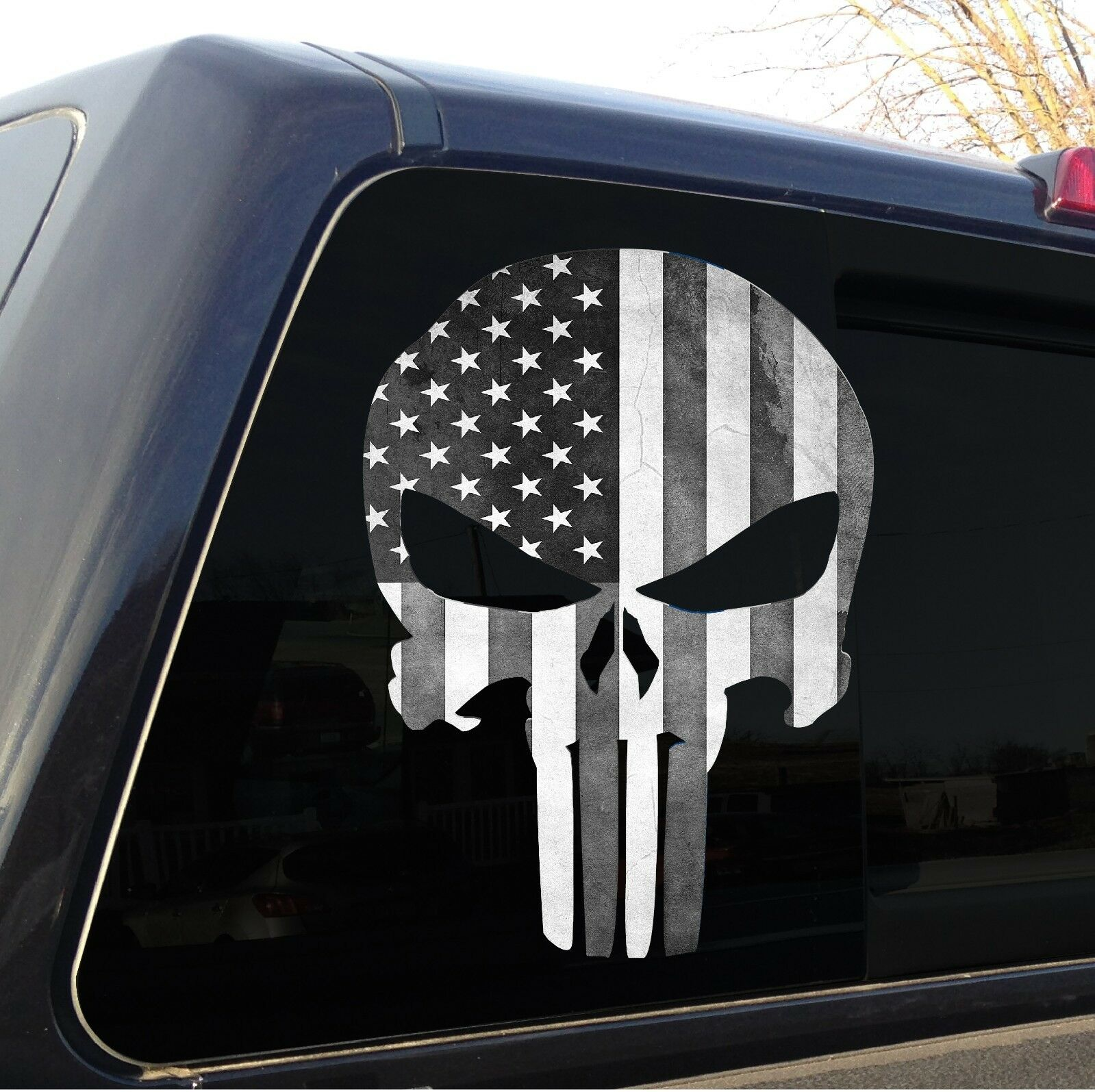 Punisher skull american flag black and white decal sticker graphic
