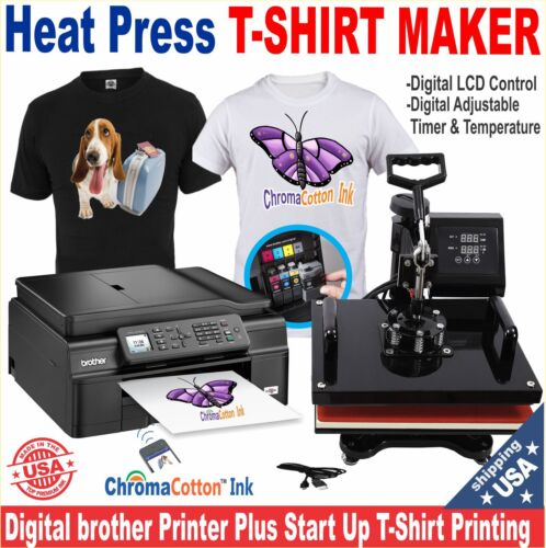 BROTHER PRINTER + HEAT PRESS T-SHIRT MAKER MACHINE COMPLETE STARTER PACK KIT