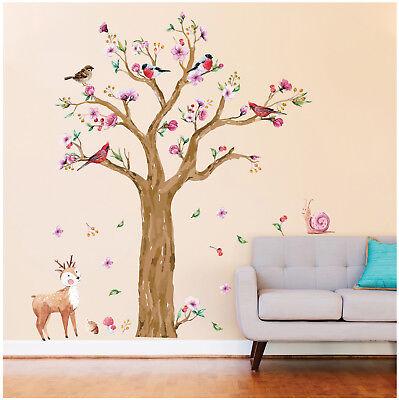Wandtattoo Aufkleber Reh Schnecke Baum Vögel Wald Kinderzimmer Baby Kind Sticker