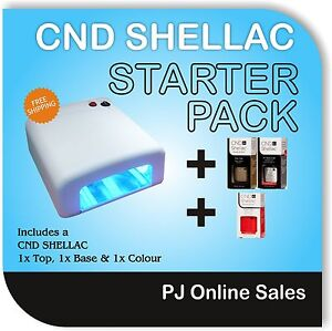 CND Shellac Nail Polish Starter Kit  + 36W UV Lamp  + 1 Top & Base + 1x Colour