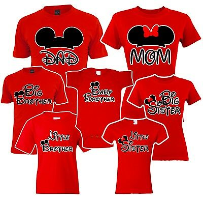 Mom Dad  Big Sister Brother Mickey Family Red Matching T Shirts  Disney Vacation