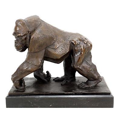 Limitierte Bronzeskulptur - Gorilla - signiert Bugatti - Tierfigur