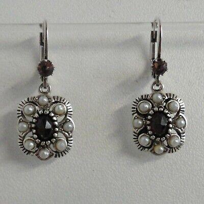 Granatschmuck Granat Perlen Ohrringe Trachten Retro Vintage antik Silber 925/- (Antik Trachten Schmuck Ringe)