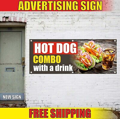 Hot Dog Banner Advertising Vinyl Sign Flag Restaurant Food Combo With A Drink 24