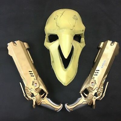 Overwatch Reaper Mask &  (2) Guns Cosplay NEW!!! USA Sellers (Reaper Cosplay)