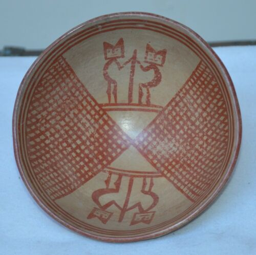 Pre-Columbian Tuza Narino Pedestal Ceramic Bowl w Figural Motifs 100% Authentic