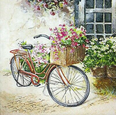 3 x Single Paper Napkins For Decoupage Craft Tissue Bicycle Bike W Flowers M266](Paper Napkins Wholesale)