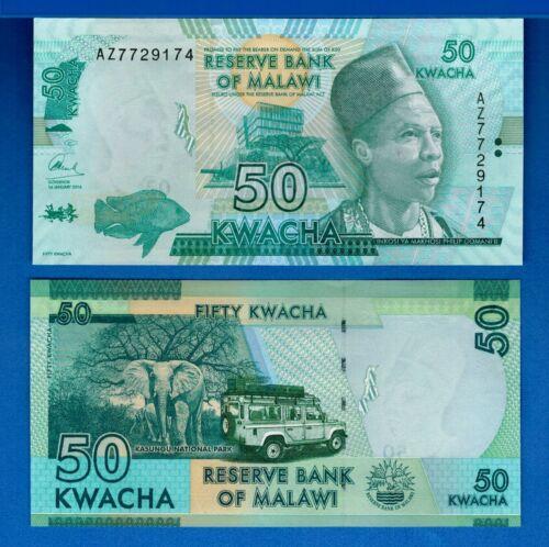 Malawi P-64c 50 Kwacha Year 2016 Elephants Uncirculated Banknotes Africa