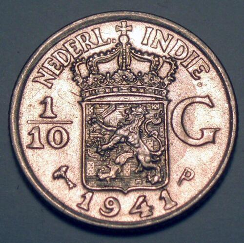 NETHERLANDS EAST INDIES 1/10 GULDEN 1941 P Philadelphia Mint, Silver K1.5