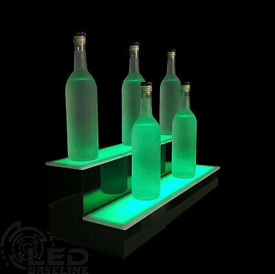 24 Lighted Bar Shelf Two Steps Liquor Display Shelving Bar Bottle Shelves