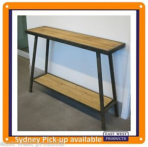 CONSOLE TABLE - HALL TABLE  aged metal brown colour and solid wood finish