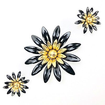 Sarah Coventry Brooch Earring Vtg 60s Enameled MOD Fashion Petals Flower Power