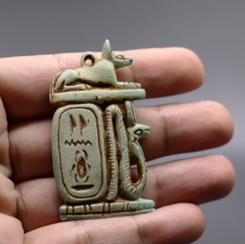 RARE EGYPTIAN ANTIQUE AMULET GOD ANUBIS EGYPT STATUE Stone 2890 BC
