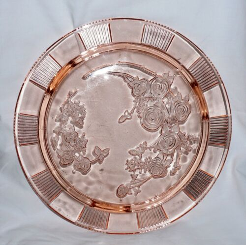 Federal Glass Sharon Pink Cabbage Rose Depression Glass Footed Cake Plate !