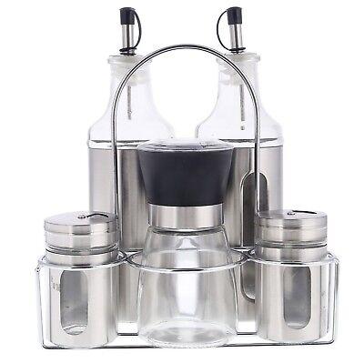 6 Tlg Menage Set Gewürzregal Öl Essig Spender Flasche Salz Pfeffer Streuer Mühle ()