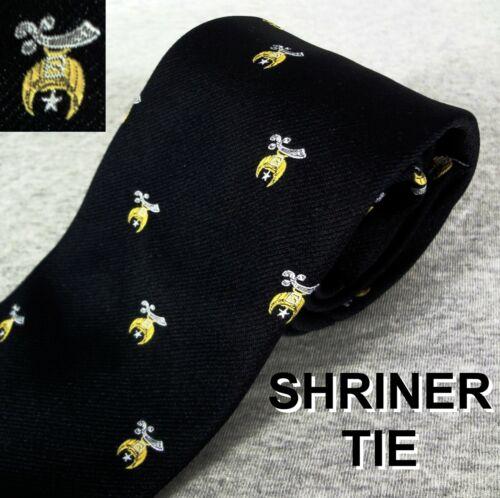Vintage Shriners Lodge Tie Black  Necktie  Masonic Member Sword Moon Star Symbol