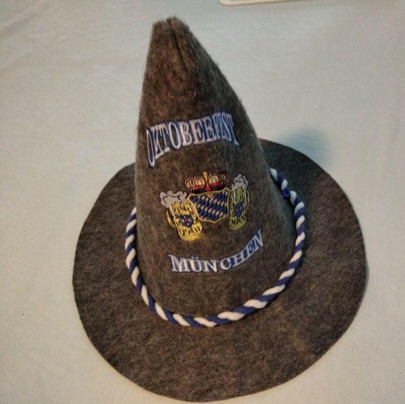 Oktoberfest Munchen Gray Peasant Sorcerer Witch Hat Cap Octoberfest