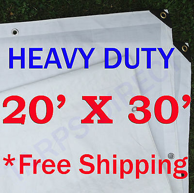 20' x 30' Heavy Duty White Poly Tarp - 6 OZ.
