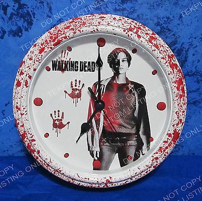 THE WALKING DEAD Custom Bloody Wall Clock Maggie Lauren Cohan Season 7 OOAK New