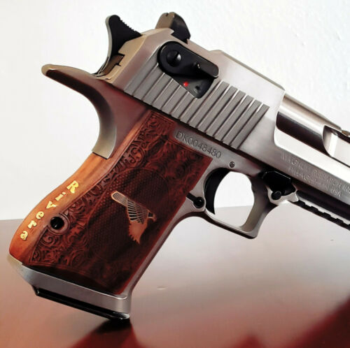 Desert Eagle grips made of walnut wood with Brass logo and text on the backstrap