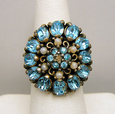 Vintage Hollycraft Adjustable Rhinestone Ring Aqua Blue White Beads Gold Tone on Lookza