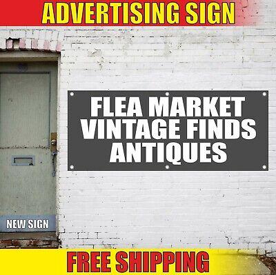 Flea Market Banner Advertising Vinyl Sign Flag Vintage Finds Antiques Sale Soon