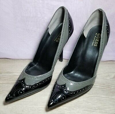 """GUESS by Marciano Black Gray Chevonne 4"""" Pump Heels 6.5M"""